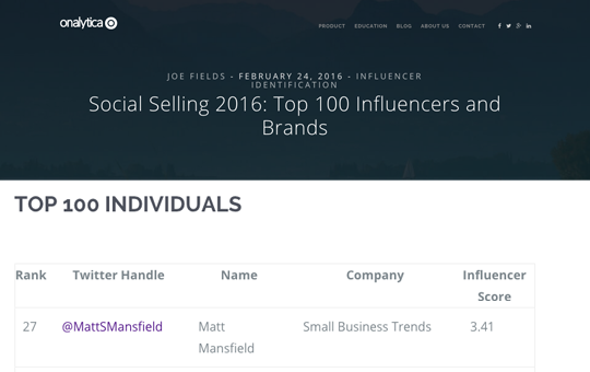 "Named one of the ""Top 100 most influential individuals in the Social Selling conversation""."